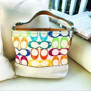 Coach Multicolor Cotton/Leather Hobo Shoulder Bag